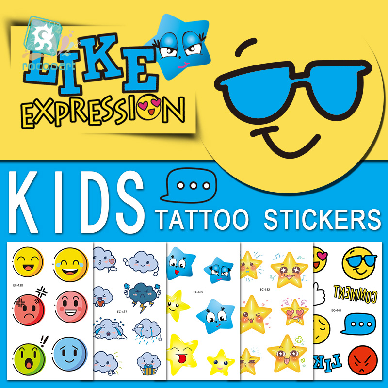 Children Award Stickers Birthday Party Cartoon Tmporary Tattoo Smiling Face Design Boy Girl Gift Fake Flash