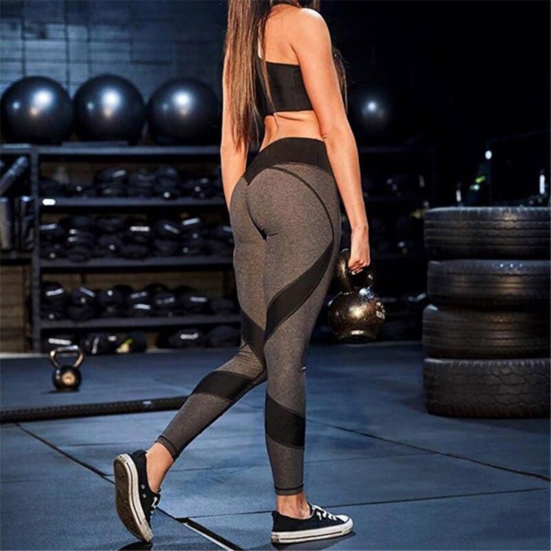 2019 New Hot Sale Patchwork Heart Hip Women Leggings Ladies Sportswear Bodybuilding Grey Slim Sexy Legging Female Pants Sale XL