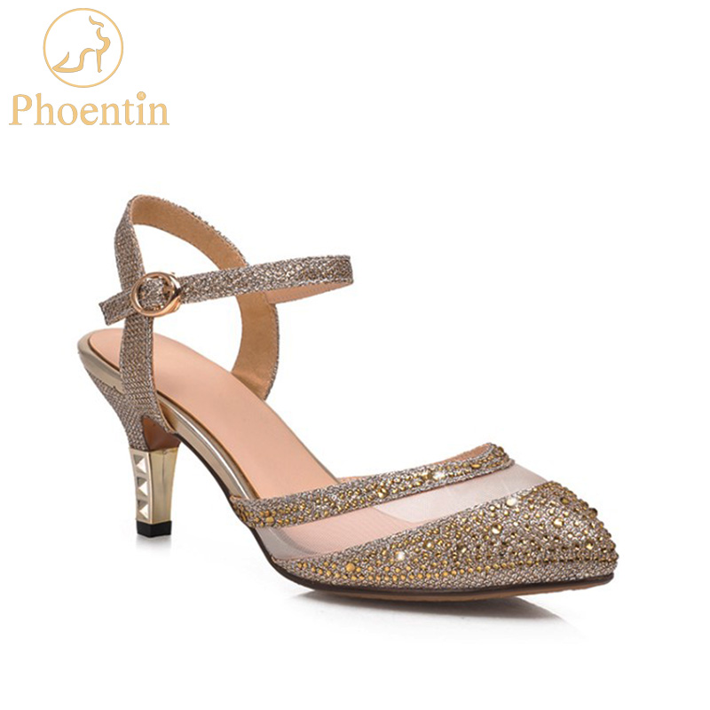 gold high heels buckle strap crystal shoes woman summer 2018 heel mesh and sequined cloth patchwork sexy shoes Phoentin PH039