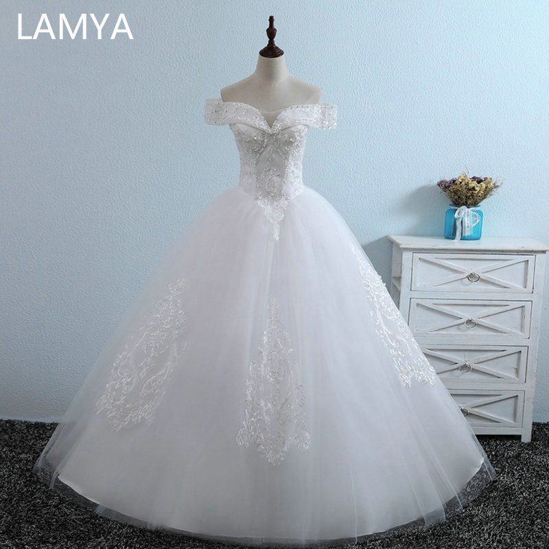 LAMYA Luxury Beading Wedding Dresses 2019 New Arrived Lace Appliques Bridal Gowns Elegant Wed Dresses Vestidos De Noiva