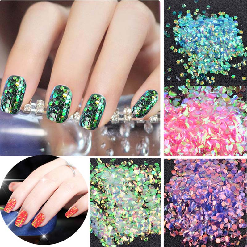 Scales Nail Sequins 1 Bag 5g Colorful Shining Scales Nail Sequins Glitter Tips Manicure Nail Art Decoration