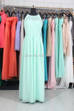 Mint Green A Ling Long Chiffon Bridesmaid DressPleated Elegant Ruffle Bridesmaid Gown