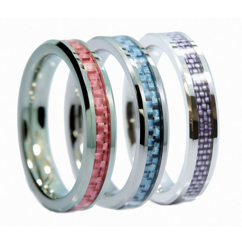 Carbon Fiber Diamontrigue Jewelry: 4mm Tungsten Carbide Jewelry Multicolor Carbon Fiber Inlay