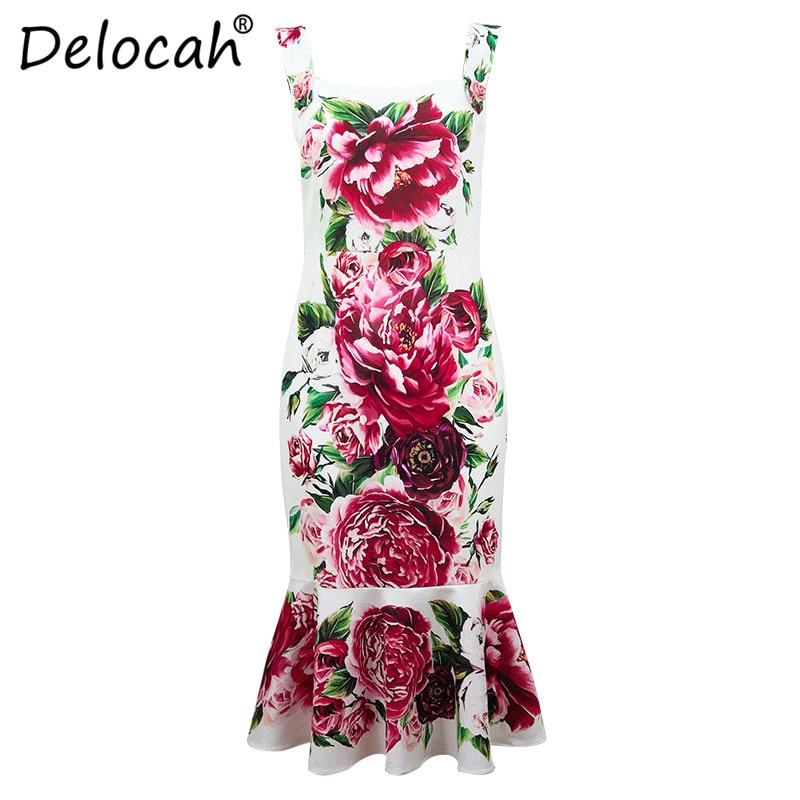 Robes Delocah Femmes Fashion Designer Imprimé Spaghetti Piste De Soirée Moulante Nouvelles Strap Robe Multi D'été Sexy Fleur 2018 rxxqE6wYB