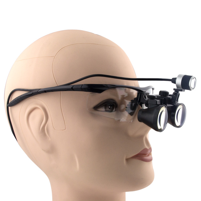 3.0x Magnification BP Sports Frame Professional Dental Loupes Glasses with Mounted LED Head Light Surgical Magnifier