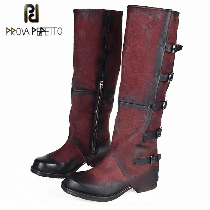 Prova Perfetto Fashion Women Shoes Handmade Military Cowboy Boots Knee High Genuine Leather Motorcycle Boots Buckle Flats Shoes mabaiwan handmade rivets military cowboy boots mid calf genuine leather women motorcycle boots vintage buckle straps shoes woman