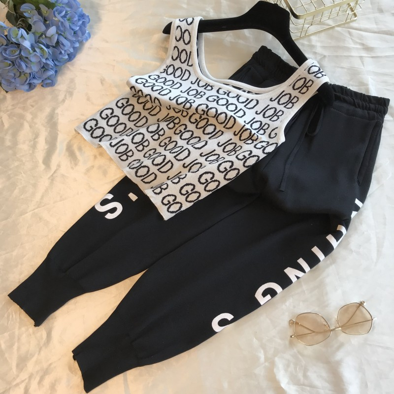 Amolapha Women Knit Print Letters Vest+Pants Tracksuits Casual Knitting Tank Tops Trousers Sets