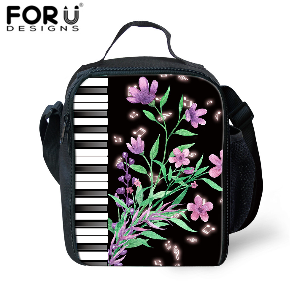 FORUDESIGNS Florals Printed Insulated Lunch Bag For Kids Fashion Lunch Box Bag Thermal For Food To School Girls Boys Picnic Sac