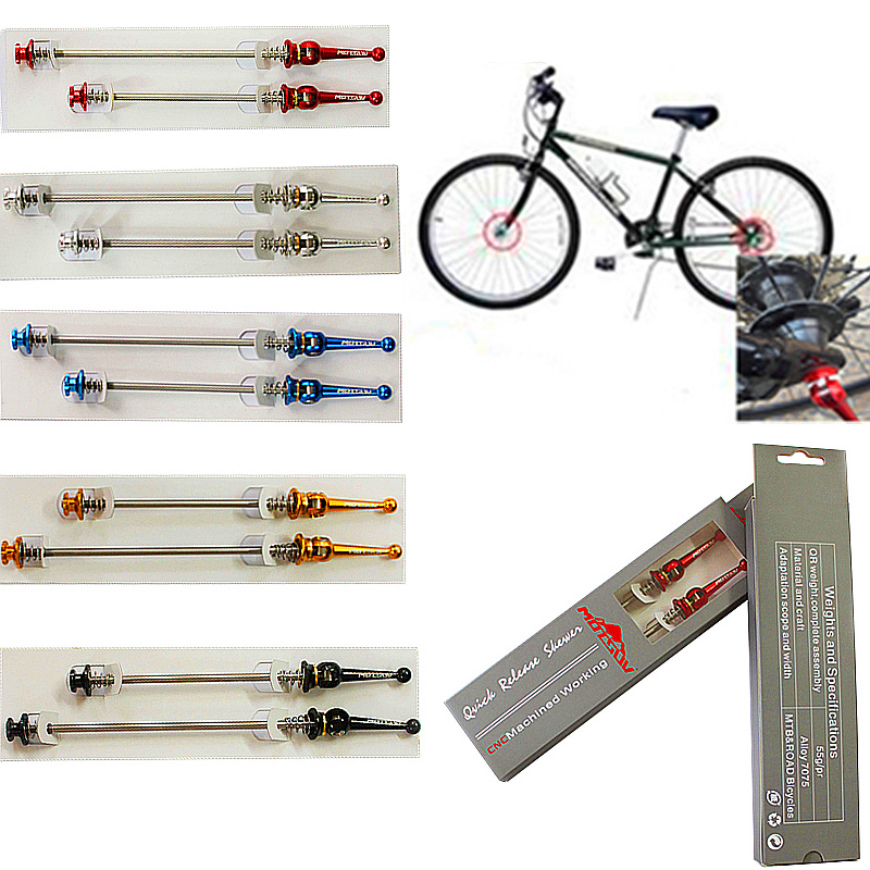 Bicycle Titanium Axle Quick Release Lightest CNC alloy Mountain bike QR Road bicycle skewers MTB Bike Parts Bicycle Accessories