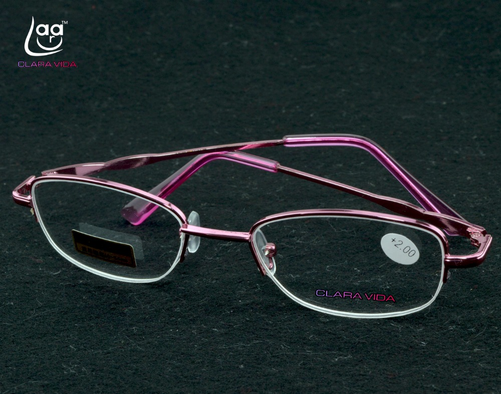 =CLARA VIDA= WOMEN LADY CLASSICAL STYLE PINK HALFRIM GRACE READING GLASSES +1.0 +1.5 +2.0 +2.5 +3.0 +3.5+4.0