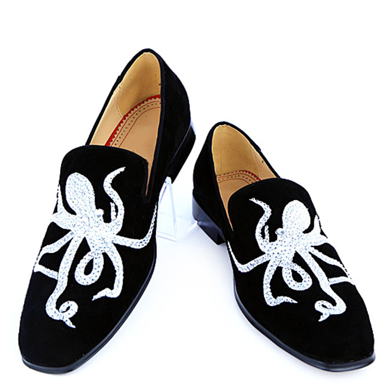 Akamatsu Faux Suede Leather Party Dress Men Shoes Octopus Embroidery Luxury Crystal Men Loafers Low Heel Casual Slip On Shoes