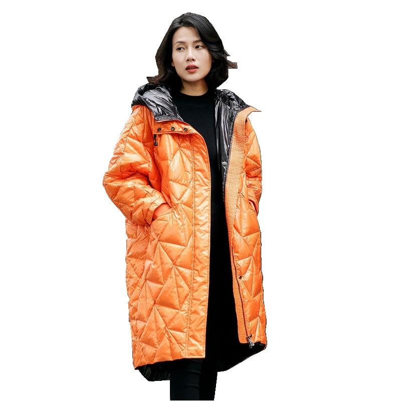 European Winter Women Parkas Down Coats Jacket With Hoody Lady Warm Outerwear Overcoat LF4191