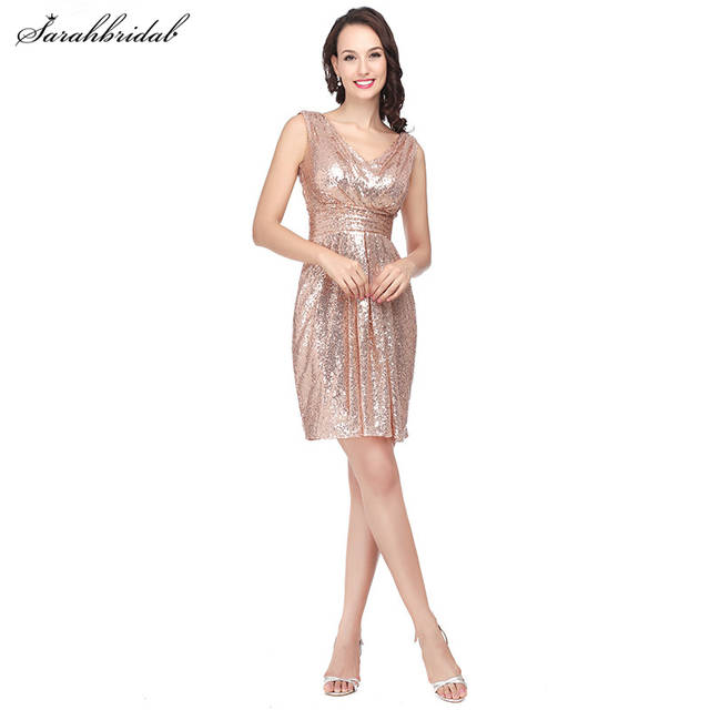 Online Shop Elegant Rose Gold Sequined Short Bridesmaid Dresses Re al  Photos Sexy V-neck Party Gown Pleated Vewtsido De Festa SD385  54cfac8b80a5