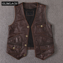 2019 New Vintage Genuine Cow Leather Vest Mens Sleeveless Slim Real Leather Many Pockets Brown Motorcycle Jacket Male Waistcoat