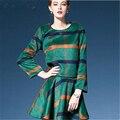 2016 Nueva moda Otoño invierno temperamento de manga Larga de cuello Redondo de dos piezas falda delgada falda a cuadros vestido de las mujeres LP110