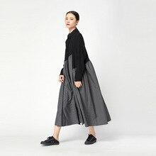 LANMREM das 2018 Nova Moda Listrada Patchwork Irregular Feminino Casual Completo Manga Turn Down Colarinho da Camisa Tipo Vestido YE303