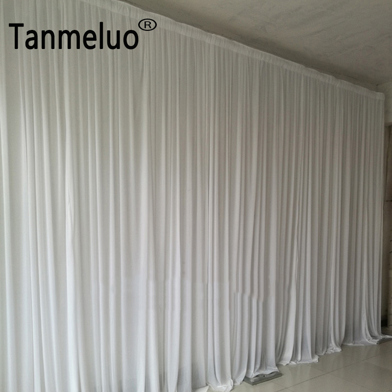 Ice silk simple solid color white wedding backdrop background for wedding party decoration white wedding backdrops