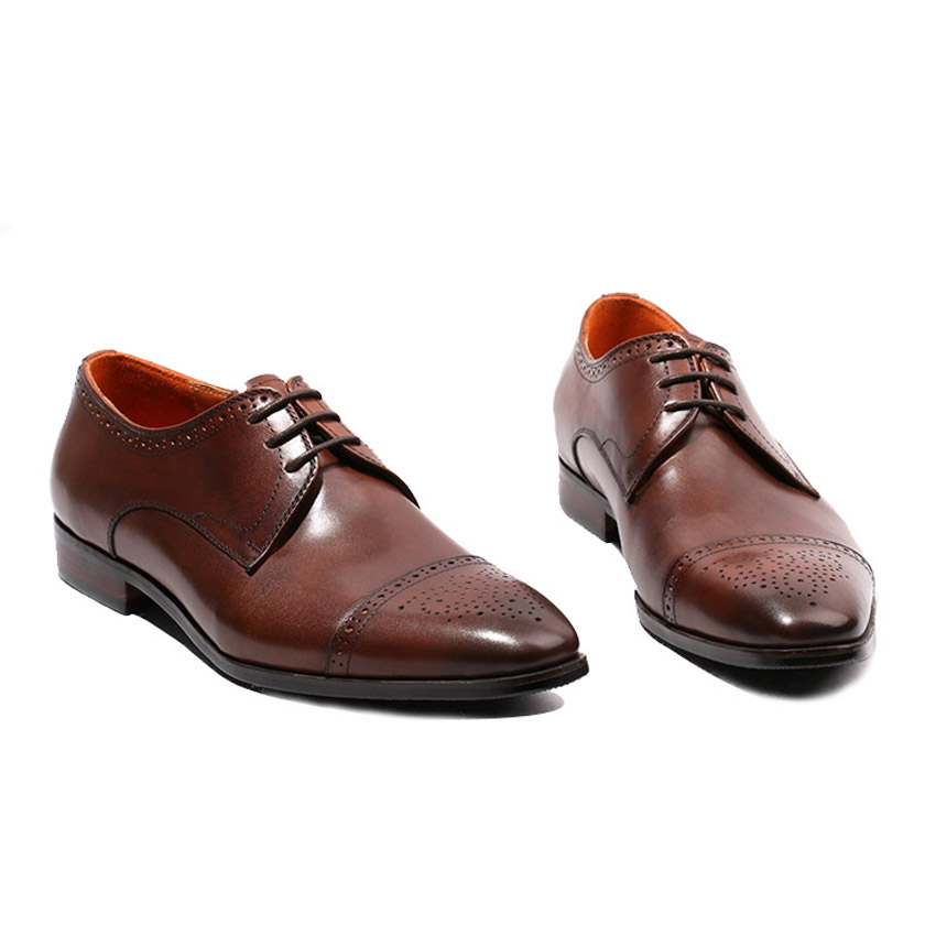 2018 Handmade Genuine Leather Mens Footwear Round Toe Derby Breathable Man Formal Dress Wedding Party Brogue Shoes HQS109