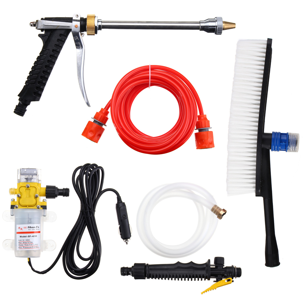 12V 100W 160PSI Car Washer Cleaner Water hose Wash Pump Sprayer with Clean brush Kit Car Washer Tools