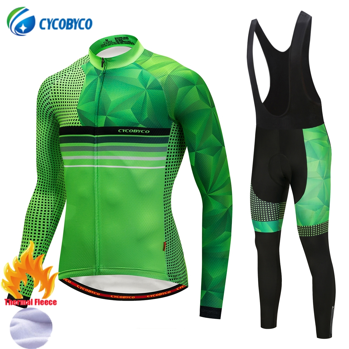 Cycobyco Winter Thermal Fleece Fluorescent Cycling Jersey Set Bike Maillot Ropa Ciclismo Long Sleeve and Bib Pant ClothingCycobyco Winter Thermal Fleece Fluorescent Cycling Jersey Set Bike Maillot Ropa Ciclismo Long Sleeve and Bib Pant Clothing