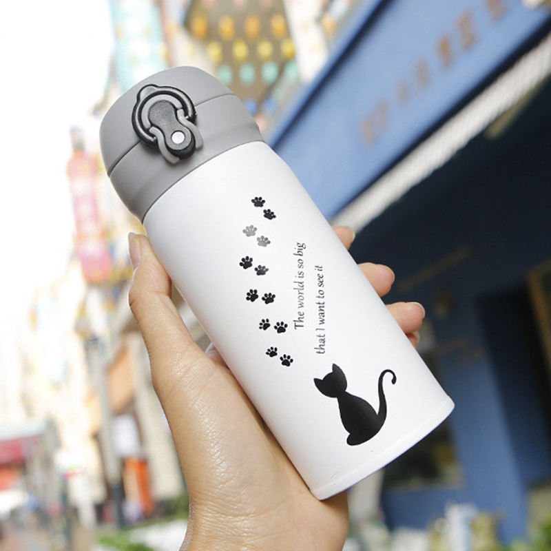 Cartoon Cat Printed Thermal Flask and Vacuum Mug for Hot water and Coffee during Outdoor Travel