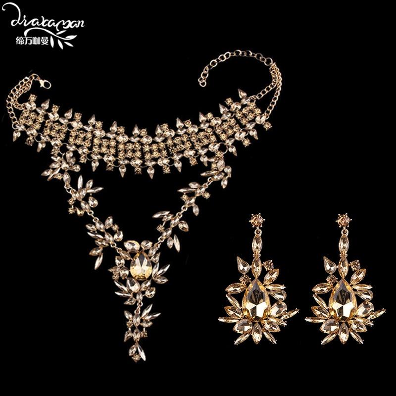 Dvacaman Brand Champagne Crystal Jewelry Sets Women Indian Bridal Rhinestone Statement Necklace&Earrings Custom Accessory KK31 pair of statement rhinestone hollowed earrings