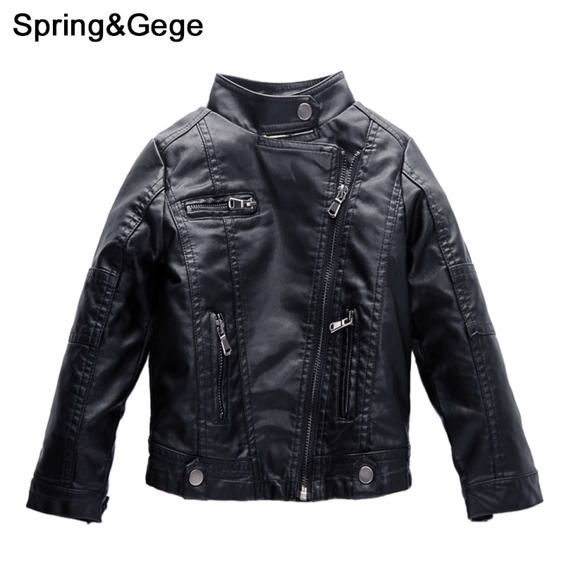 Boys Leather Jacket Stand Collar Children PU Leather Coat Spring Autumn Kids clothes Girls Jacket Children Outerwear 2-12Y pu leather spliced stand collar zip up jacket