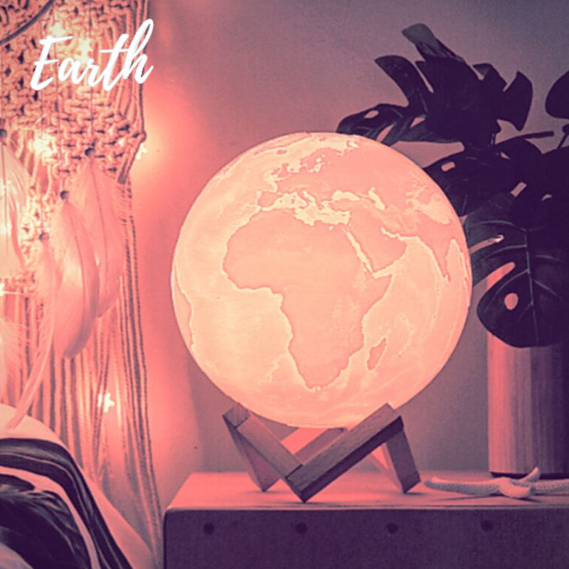 Dropship 3D Earth Lamp Jupiter Lamp Colorful Moon Lamp Rechargeable Change Touch Usb Led Night Light Home Decor Creative Gift