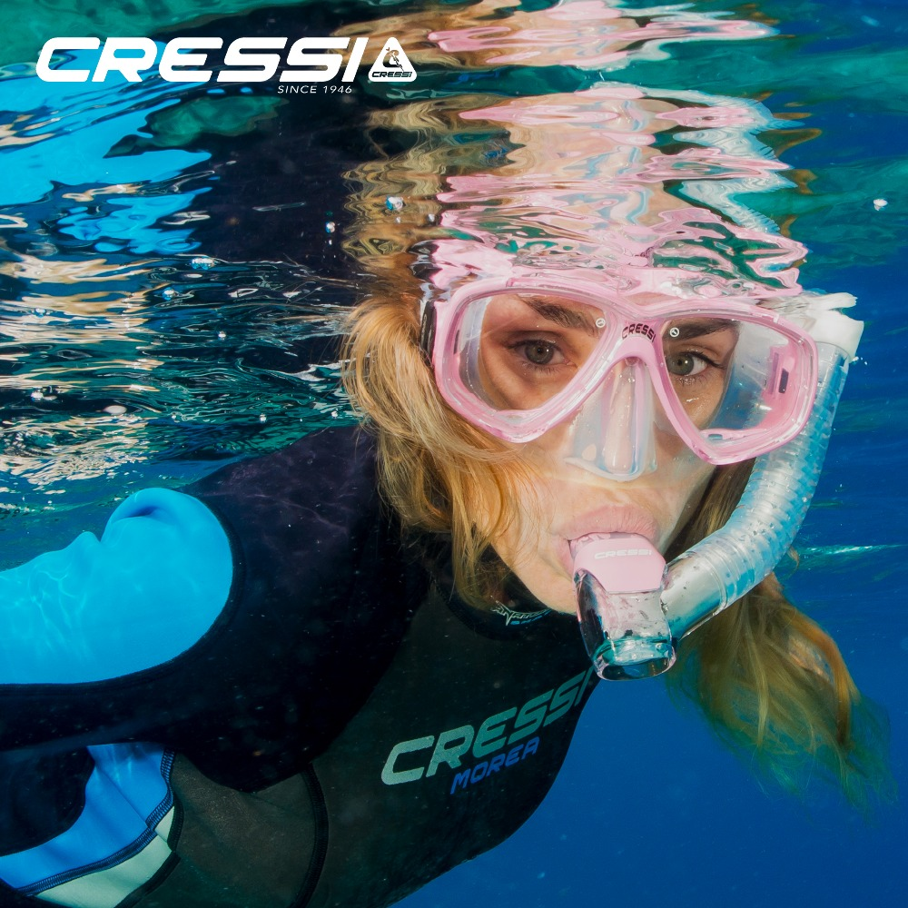 Cressi Perla Dry Snorkeling set Diving Mask Dry Snorkel Quality Silicone Skirt Mask Dry Top valve