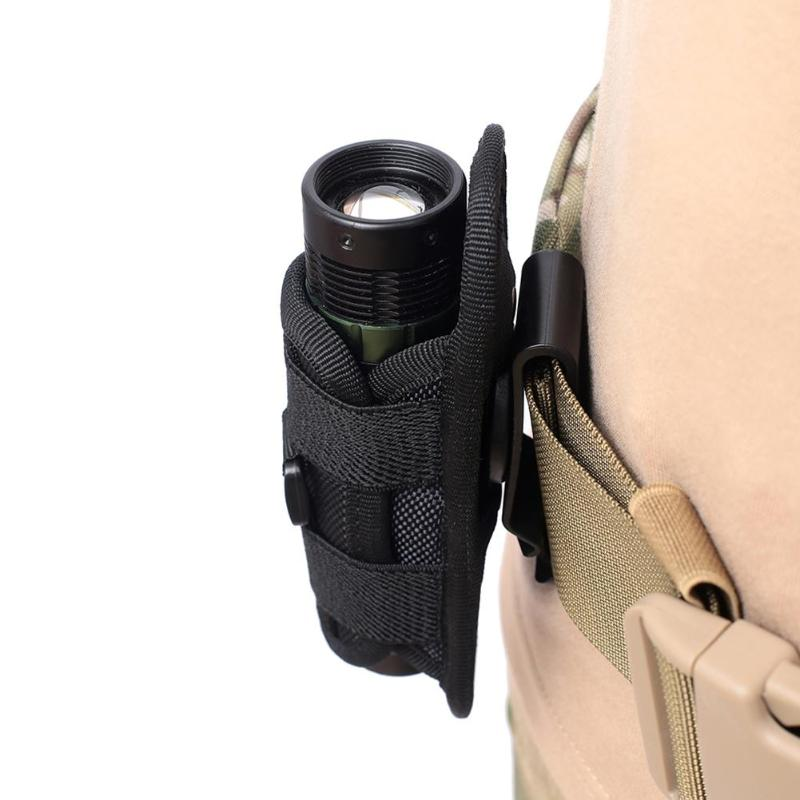 Outdoor Hiking 360 Degree Rotatable Flashlight Pouch Holster Waist Bag For Belt Torch Cover Hunting Lighting Survival Kits