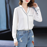 White silk long sleeve single breasted v neck loose blouse 2018 new high quality office lady women autumn shirts