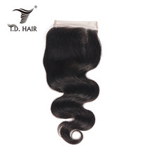 TD HAIR Body Wave Lace Closure in Light Brown Color with Baby Hair Aliexpress hot selling hair products(China)