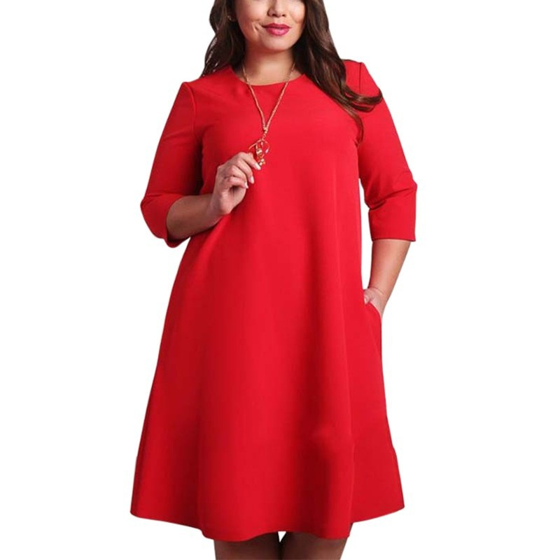 US $9.54 20% OFF|L 6XL Big Size Dresses Office Ladies Plus Size Casual  Loose Autumn Dress Pockets Green Red Fashion Dress Vestidos Women  Clothes-in ...