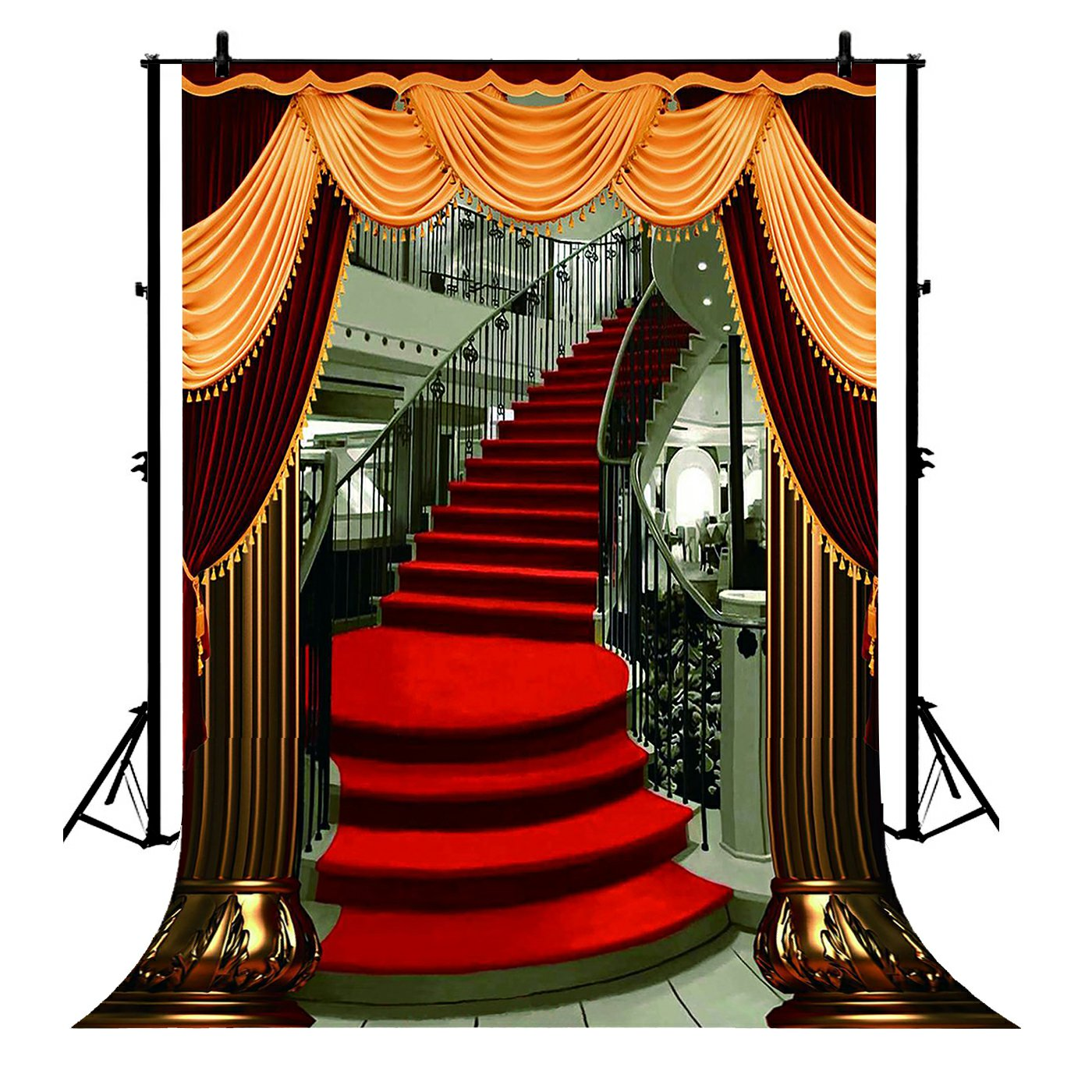 5x7ft Red Carpet Stairs Polyester Photo Background Portrait Backdrop