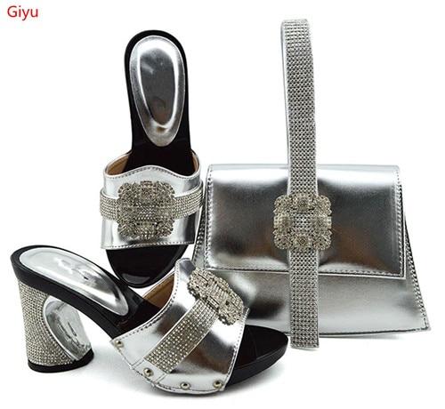 Doershow nouvelle chaussure italienne avec sacs assortis sertie de chaussure en strass et sac assorti pour les chaussures de concepteur de fête nigériane SKP1-6 - 4