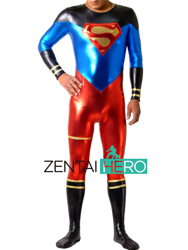 Free Shipping DHL Adult Red and Blue Multicolor Shiny Metallic Superman Costume Zentai Catsuit Halloween Costume For Men PS051