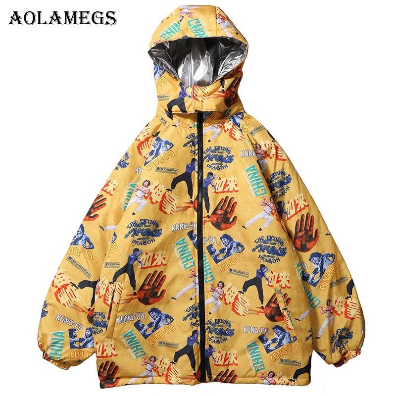 Aolamegs Parka Hommes Drôle Imprimé Mens Vestes D'hiver À Capuchon Hommes Vers Le Bas Veste Col montant Coupe-Vent Manteau Hommes Hiver Streetwear
