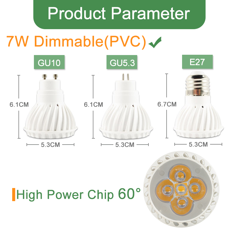 Image 4 - Kaguyahime Dimmable LED Spotlight Led Lamp MR16 E27 GU10 GU5.3 MR11 6W 7W 8W 220V DC 12V Spot LED Bulb Light Lampada Bombillas-in LED Bulbs & Tubes from Lights & Lighting