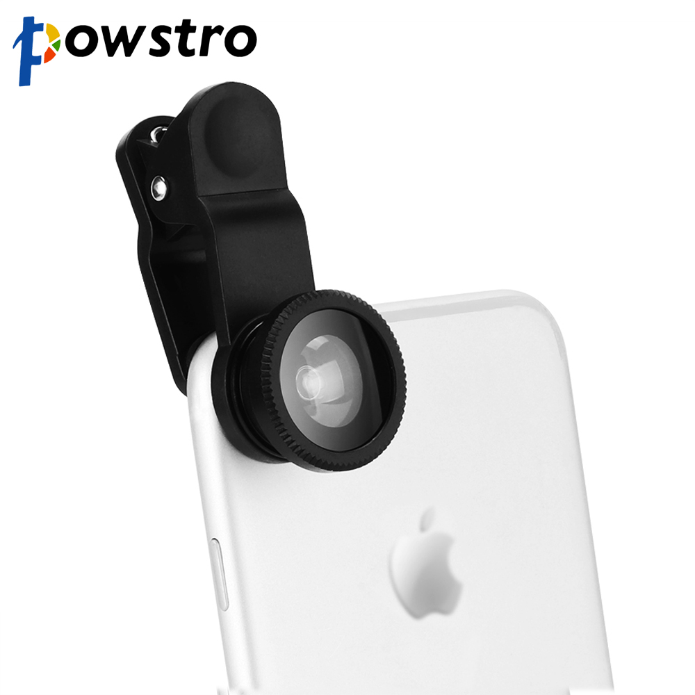 POWSTRO Universal 5 in 1 Clip on Phone Camera Optical Lens Wide Angle Lens 3X Macro Lens 198 Degree Fisheye Lens for iPhone magnetic attraction bluetooth earphone headset waterproof sports 4.2