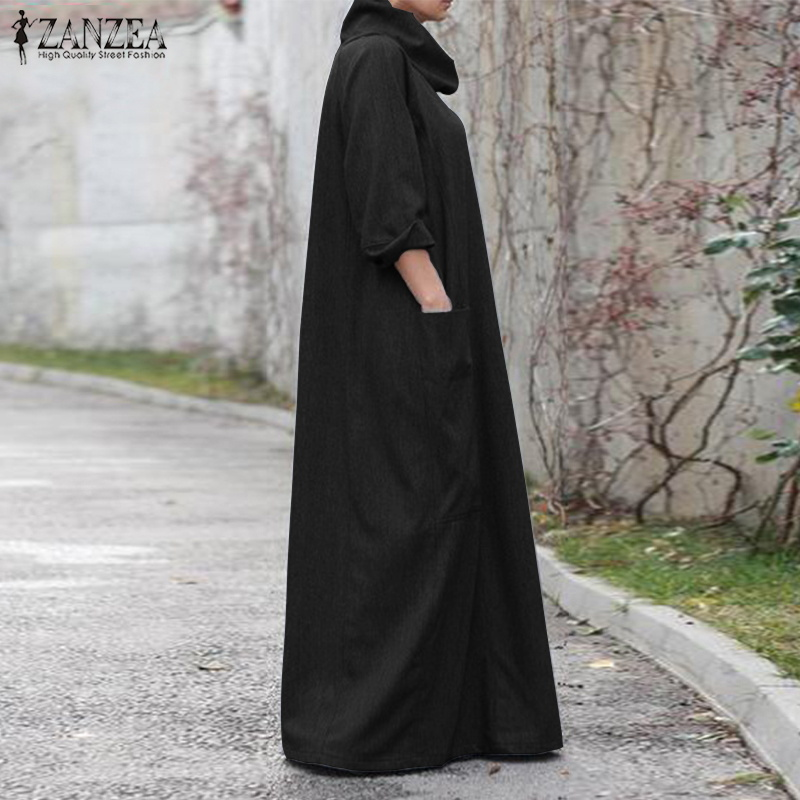 2018 ZANZEA Autumn Long Dress Women s Turtleneck Vestido Pockets Female  Casual Long Sleeve Maxi Dresses Robe Femme Plus Size 5XL-in Dresses from  Women s ... 755014266867