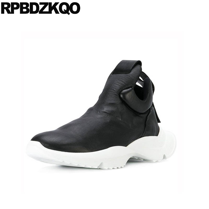 Black High Sole Full Grain Leather Wedge Platform Ankle Men Slip On Casual Shoes Boots Top Booties Trainer Sneakers Thick Soled 2018 spring new men gothic slip on loafers casual genuine leather thick platform sneakers high top trainer shoes zapatos hombre