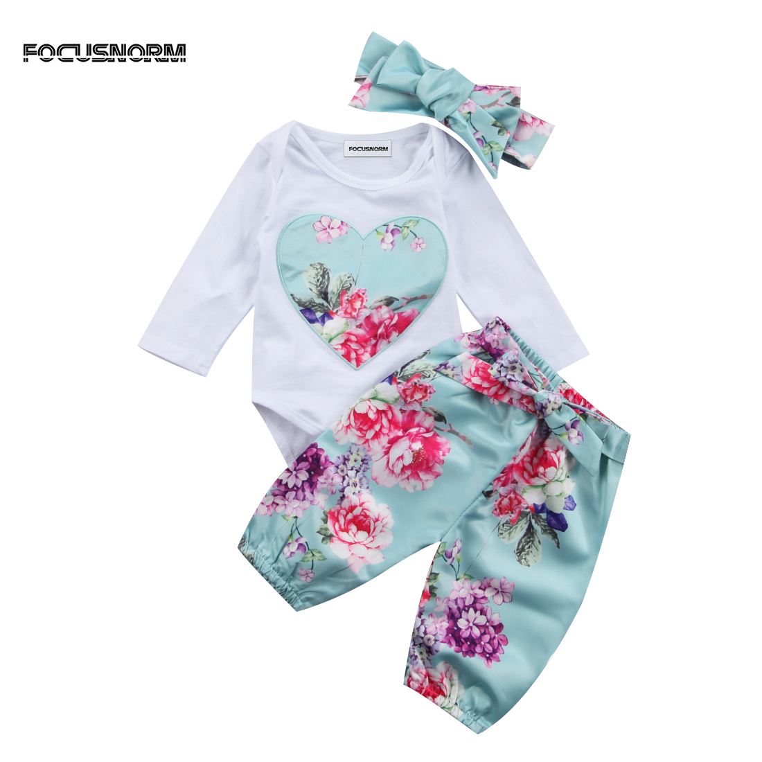 Newborn Kid Baby Girl Floral Clothes Long Sleeve   Romper   Jumpsuit Round Neck   Romper   Pants Outfit Sets