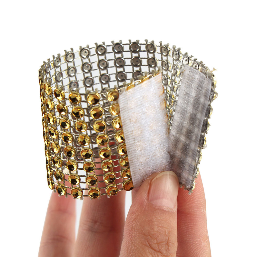 Ourwarm 10Pcs Diamond Napkin Rings For Wedding Napkin Holders Rhinestone Chair Sashes Banquet Dinner Christmas Table Decoration