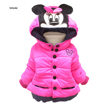 New Minnie Girls Jacket Winter Cartoon Lovely Keeping Warm Kids Coat Children Cotton Casual Hooded Thick