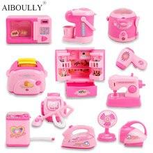 Мини-игрушки для кухни, светильник и звук, пластиковая имитирующая бытовая техника для детей, Детский игровой домик, Игрушки для маленьких девочек, ролевые игры