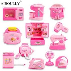 Mini brinquedos de cozinha light-up & som simulação de plástico eletrodomésticos crianças crianças brincar casa brinquedo do bebê meninas fingir jogar brinquedos