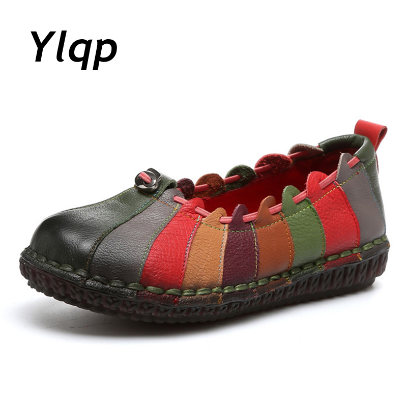 2017 New Shoes Women Genuine Leather Flats Fashion Mixed Colors Casual Soft Mother Loafers Moccasins Female Driving Flat Shoes 2017 new shoes women genuine leather flats fashion mixed colors casual soft mother loafers moccasins female driving flat shoes