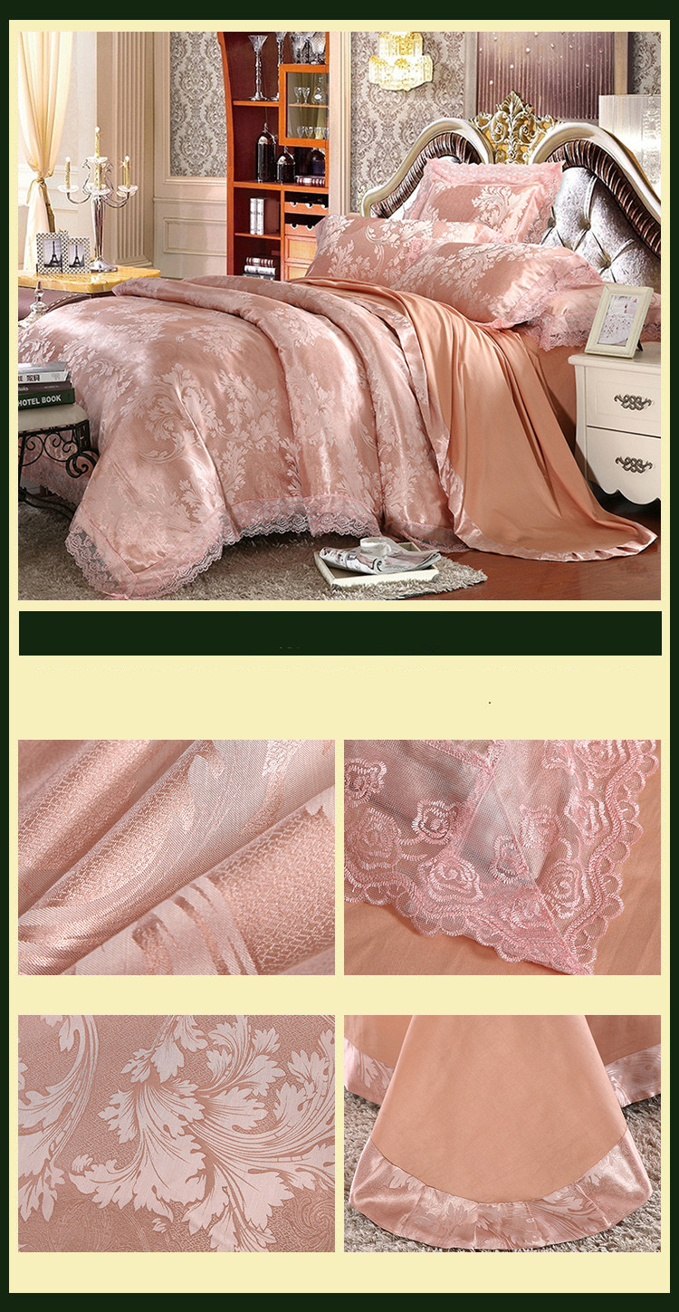 New Luxury Embroidery Tinsel Satin Silk Jacquard Bedding Set, Queen, King Size, 4pcs/6pcs 30