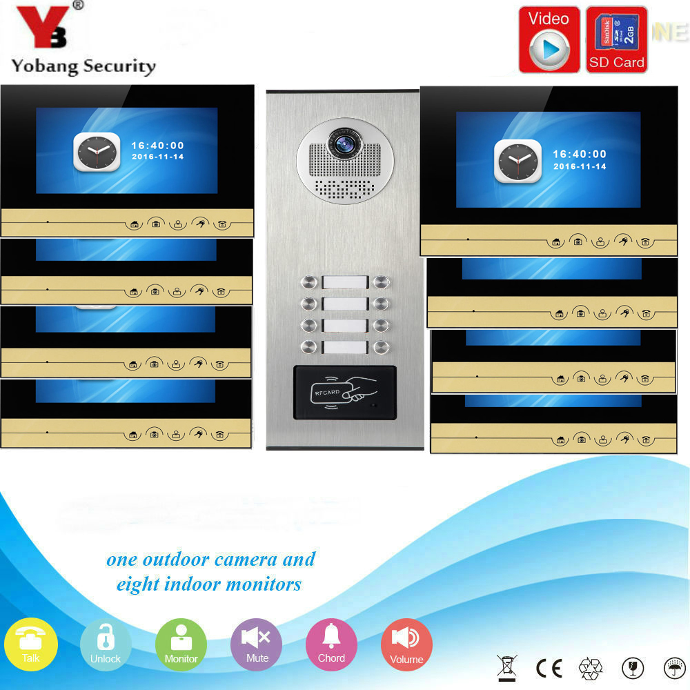 YobangSecurity Video Intercom 7 Inch Monitor Video Door Phone Doorbell Camera RFID Access With Video Recording For 8 Apartment