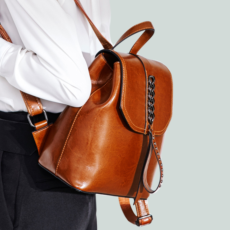 2019 New Women's Bag Genuine Leather Backpack Female Fashion Leather Casual Backpack Female Travel Backpack